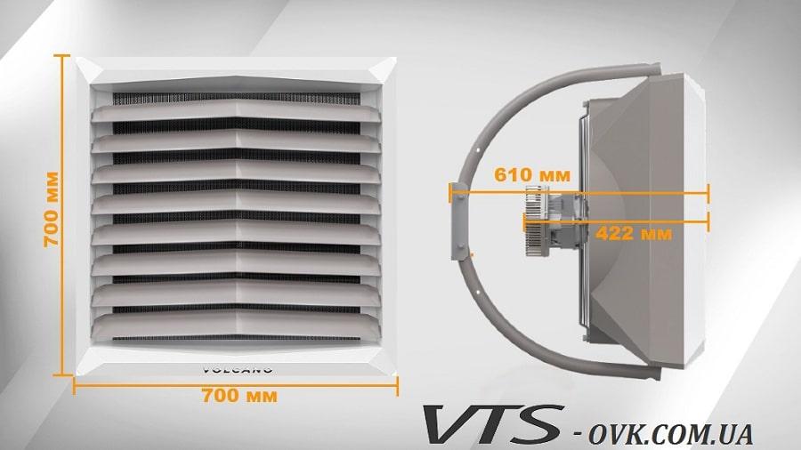 Габаритные размеры тепловентиляторов Volcano VR1 EC, VR2 EC, VR3 EC