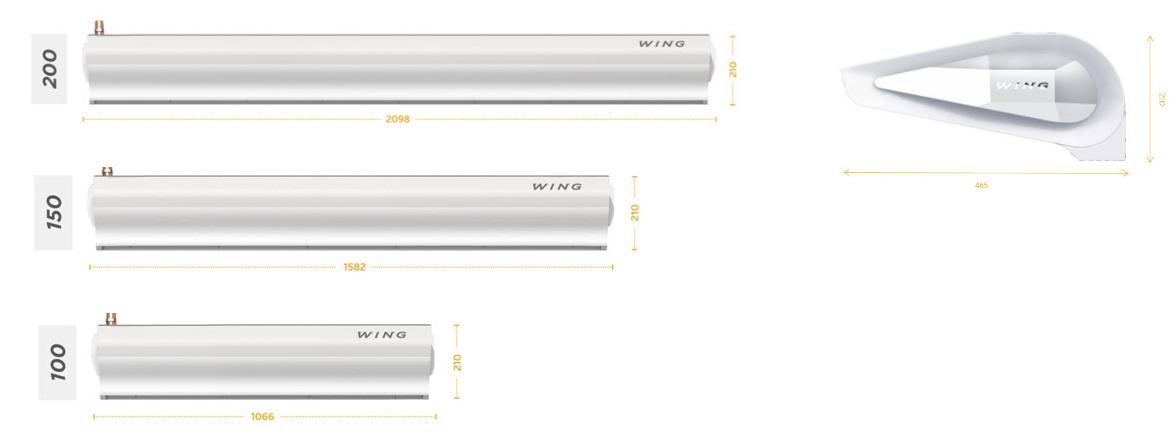 Воздушно тепловые завесы WIng - габаритные размеры