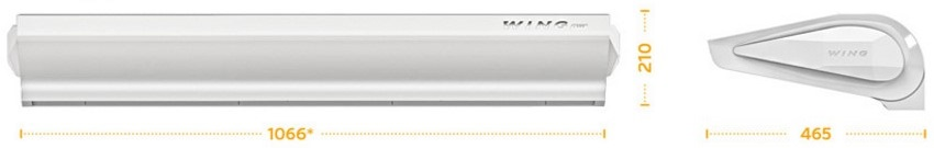 Габаритные размеры электрической тепловой завесы WING E100